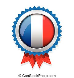 France badge with red ribbon vector