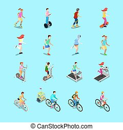 Isometric Sporting People Set. Running People, Cyclist on...