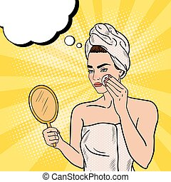 Pop Art Beautiful Woman Removing Makeup from her Face in...