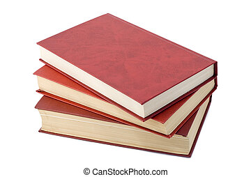 Three old red books - Three old retro red books isolated on...