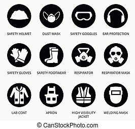 Industry health and safety protection equipment icons....