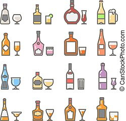 Alcohol bottles with glasses and stemware line flat icons -...