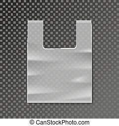 Vector plastic bag blank template on transparent background....