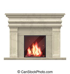 Vector classic fireplace for living room interior. Fireplace...