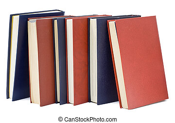 Three blue and three red old books - Three blue and three...