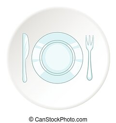 Plate with knife and fork icon, cartoon style - Plate with...