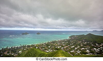 timelapse of Lanikai Beach and Mokulua Islands, O'ahu,...