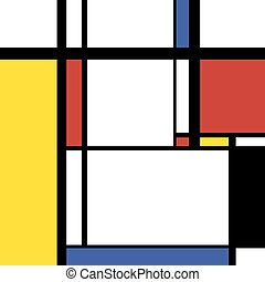 Modern painting in mondrian style, square illustration -...
