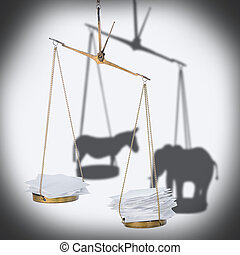8 november USA election concept of ballot scale with heap paper blanks and shadow donkey, elephant like metaphor, close up