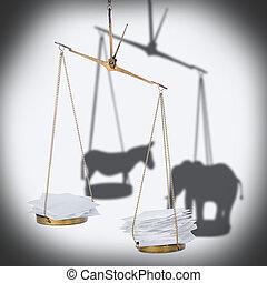 8 november USA election concept of ballot scale with heap...