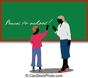 Woman teacher in classroom Back t