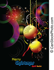 Christmas - New Year shine card with golden balls Eps10...
