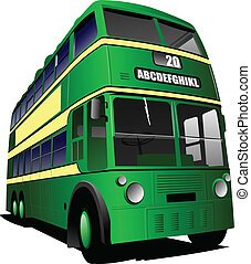 Eps 10 Vintage green bus illustration, isolated on white....