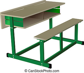 School desk on white isolated back