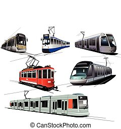 City transport. Six Trams. Vector