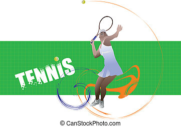 Tennis player poster. Colored Vect