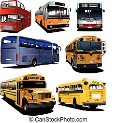 Seven city buses Coach School bus Vector illustration for...