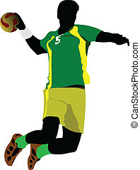 Handball players silhouette Vector colored illustration