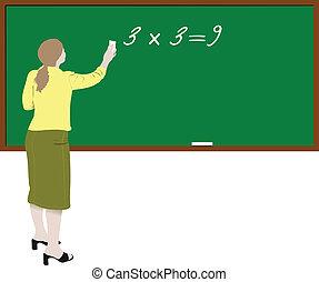 Woman teacher in classroom Back to school Vector...