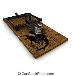 3D, Trampa, Ilustración, aceite, derramar, desastre