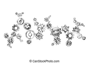 Glossy metal cogwheels arranged in complicated mechanism isolated on white