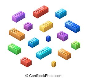 Different colorful lego bricks in isometric view isolated on...