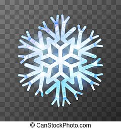 Colorful icy snowflake with bright light and reflections