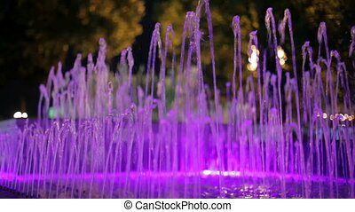 Fountain with violet backlight