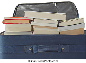 Suitcase full of books - A blue suitcase for travel...