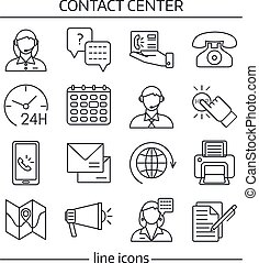 Contact Us Lines Icon Set