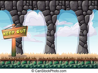 cartoon vector cave with separated layers for game and...