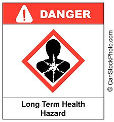 Long term health hazard, man in red rhombus symbol. Danger banner for factory. Vector illustration.