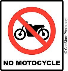 No motorcycle sign on white background vector illustration -...