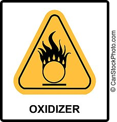 Oxidizing warning symbol in yellow triangle Information...