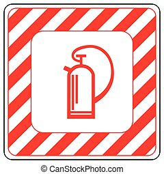 Sign of the fire extinguisher in vector, isolated over white...