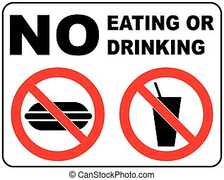 Prohibition Signs for Eating and Drinking General...
