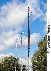 Devices of meteorological station, wind meter, on the blue...