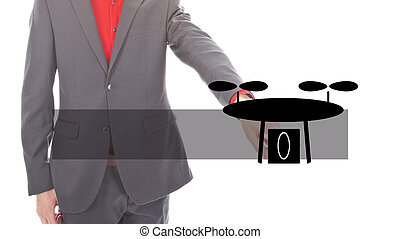 Young business man with illustration of black drone on white background