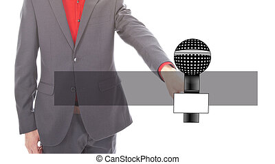 Young business man with microphone on white background