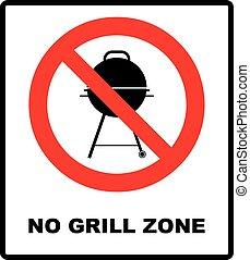 No bbq allowed - ban sign. Vector warning banner - No grill...