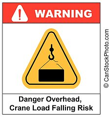 Danger overhead load sign. Vector warning banner, silhouette...