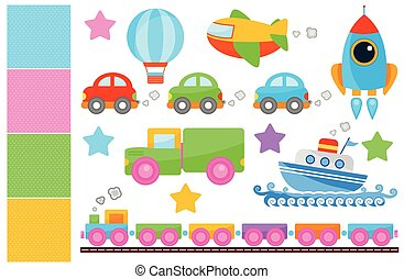 Cute Transportations - Vector illustrations.