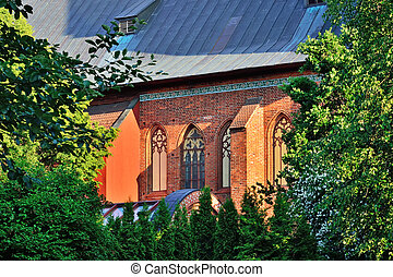 Wall of Konigsberg Cathedral on a summer evening....
