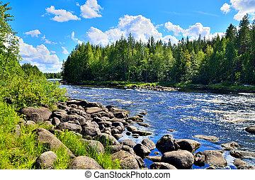 River Chirko-Kem. Karelia, Russia - River Chirko-Kem in...