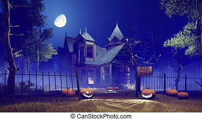 Halloween pumpkins and scary house 4K - Jack-o-lantern...