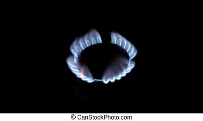 Flames of gas on a black background HD