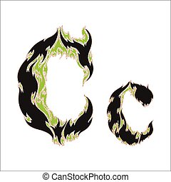 fiery font black and green letter C on white background