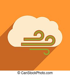 Flat with shadow icon and mobile application cloud wind