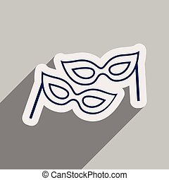 flat icon with long shadow carnival mask
