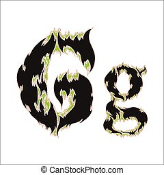 fiery font black and green letter G on white background